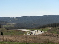 Interstate 49 enters the Boston Mountains in south Washington County