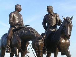 Joseph and Hyrum Smith monument, entitled Last Ride, is in front of the Nauvoo Illinois Temple