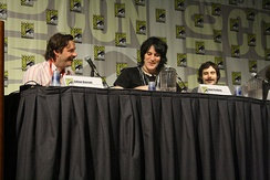 Fielding and co-stars of The Mighty Boosh at a panel at Comic Con