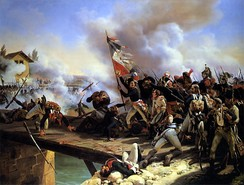 Bonaparte won his first major victory leading his soldiers across a bridge at the Battle of Arcole (17 November 1796)