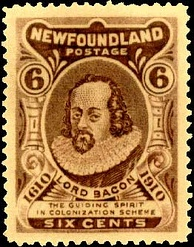"A Newfoundland stamp, which reads ""Lord Bacon – the guiding spirit in colonization scheme"""
