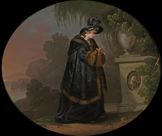 "In Goethe's The Sorrows of Young Werther, the title character kills himself due to a love triangle involving Charlotte (pictured at his grave). Some admirers of the story were triggered into copycat suicide, known as the ""Werther effect"""