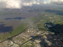The ship canal alongside the Mersey between Stanlow and Runcorn, looking east