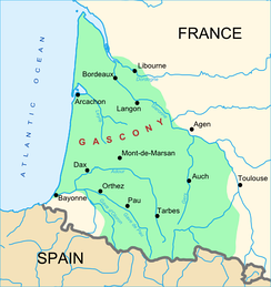 A map of Gascony, showing a wide definition of the region. Other definitions may encompass a smaller area.
