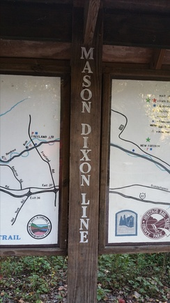 Mason–Dixon line where the Torrey C. Brown Rail Trail becomes the York County Heritage Trail near New Freedom, Pennsylvania