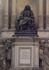 Molière statue on the Fontaine Molière, corner of Rue de Richelieu and Rue Molière in Paris