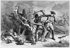 Montcalm trying to stop allied Indians from the massacre of colonial soldiers and civilians as they leave after the Battle of Fort William Henry.