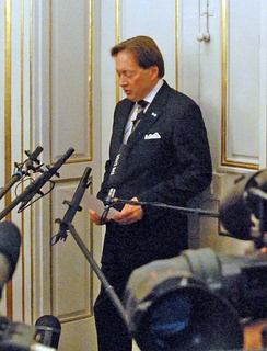 Horace Engdahl, the former permanent secretary of the Swedish Academy, announcing that Jean-Marie Gustave Le Clézio won the 2008 Nobel Prize in Literature