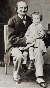 Offenbach with his only son, Auguste, 1865