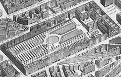 Palais-Royal and its gardens on the map of Turgot, 1739. The palace itself fronts on its small square.