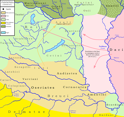 Map 3: Ancient tribes in the middle Danube river basin around 1st C. BCE