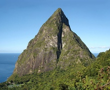Petit Piton seen from the Ladera Hotel restaurant – December 2004
