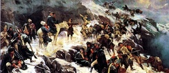 Russian troops under Suvorov crossing the Alps in 1799
