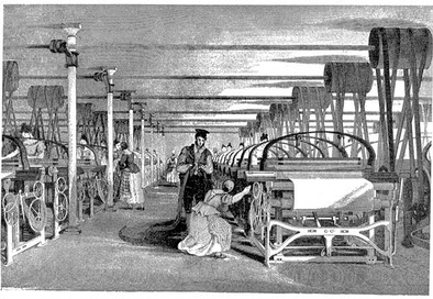 A Roberts loom in a weaving shed in 1835. Textiles were the leading industry of the Industrial Revolution, and mechanized factories, powered by a central water wheel or steam engine, were the new workplace.