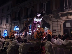 "traditional procession of the ""Barette"", showing the passion of Christ, the Good Friday in Messina, Sicily"