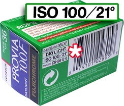 "This film container denotes its speed as ISO 100/21°, including both arithmetic (100 ASA) and logarithmic (21 DIN) components. The second is often dropped, making (e.g.) ""ISO 100"" effectively equivalent to the older ASA speed. (As is common, the ""100"" in the film name alludes to its ISO rating.)"