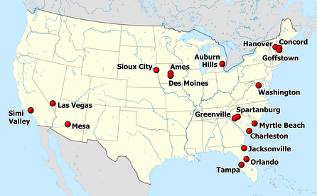 Eighteen cities hosted Republican debates in the 2012 presidential election cycle.  Goffstown, NH and Tampa, FL each hosted two debates, for a total of twenty nationwide.
