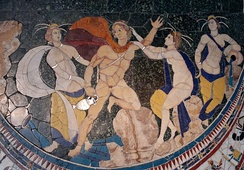 "The mythological abduction or ""rape"" of Hylas by the nymphs (opus sectile, basilica of Junius Bassus, 4th century AD)"