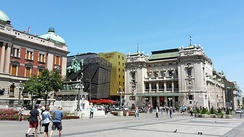 Republic square, Left: National Museum of Serbia – Centre: Hotel Marriott Belgrade – Right: National Theatre.