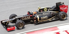 Grosjean driving for Lotus at the 2012 Malaysian Grand Prix.
