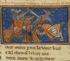 Illumination from a manuscript of the Roman de Renart, end of the 13th century