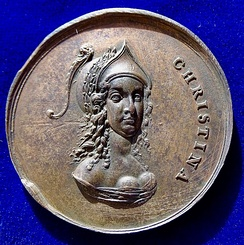 Sebastian Dadler undated medal (1648), Christina of Sweden, portrait with feathered helmet right. Obverse
