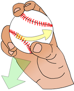 A common grip of a slider