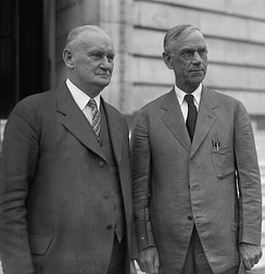 Hawley (left) and Reed Smoot in April 1929, shortly before the Smoot–Hawley Tariff Act passed the House