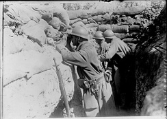 French soldiers observing enemy movements