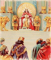 Solomon's Wealth and Wisdom, as in 1 Kings 3:12–13. Illustration from a Bible card published 1896 by the Providence Lithograph Company.