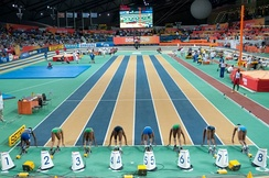 Start of the women's 60 m at the 2010 World Indoor Championships