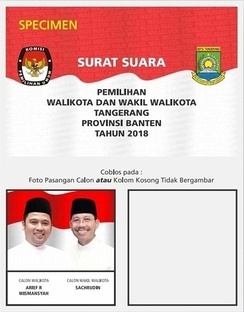 A sample ballot for the uncontested 2018 mayoral elections in Tangerang.