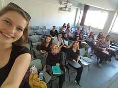 A scene from a female-majority class at the Psychology Department of Uludağ University in Bursa, Turkey. In Turkey, 47.5% of staff at the top five universities are female, a higher proportion than for their equivalents in the United States (35.9%), Denmark (31%) and Japan (12.7%).[64]