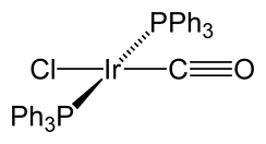 Skeletal formula of a chemical compound with iridium atom in its center bonded to two P-PH3 groups, to a chlorine atom and to a C-O group.