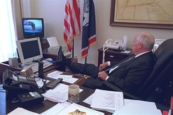 Vice President Cheney watching the initial 9/11 attack