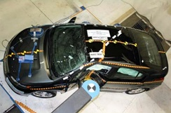 Chevrolet Volt after being subjected to the NCAP pole test on May 12, 2011 at MGA Research's test facility.