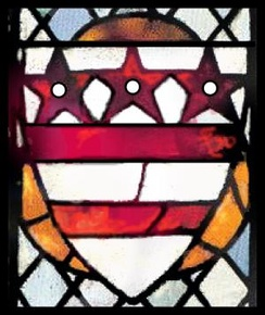 The Washington family coat of arms in fifteenth-century stained glass at Selby Abbey, England
