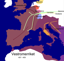 Barbarian invasions and the invasion of usurper Constantine III in the Western Roman Empire during the reign of Honorius 407–409