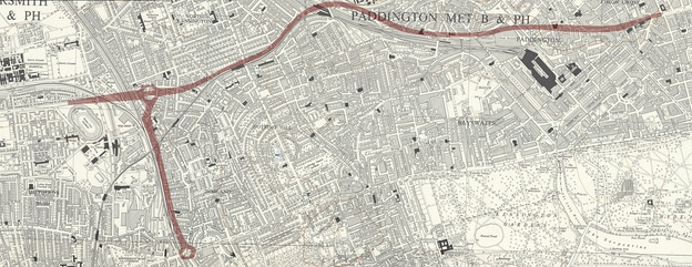 Route of Westway, West Cross Route and Marylebone Flyover overlaid on 1957 Ordnance Survey map showing areas which were demolished for the roads' construction