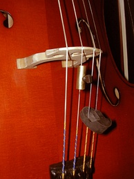 A cello with a Tourte mute (the circular black piece) in off position, and a wolf eliminator (the cylindrical metal piece)