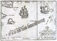 1598 Bertius map of the Maldives, issued in Middelburg, Netherlands.