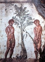 Early Christian depiction of Adam and Eve in the Catacombs of Marcellinus and Peter