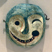 Yup'ik painted wood mask depicting the face of a tuunraq (keeper of the game), Yukon River area, late 19th century, Dallas Museum of Art, Dallas, Texas.