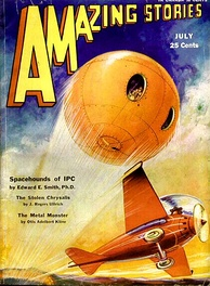 In the future envisioned on this 1931 cover of Amazing Stories, propeller airplanes would coexist with space technology advanced enough for a large-scale colonization of Mars.