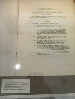 First page of the Articles of Agreement of the International Monetary Fund, 1 March 1946. Finnish Ministry of Foreign Affairs archives