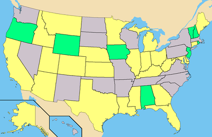 Yellow - States where Independent candidates have Ballot or Write-In access.Green - States with every candidate has instant Write-In access.