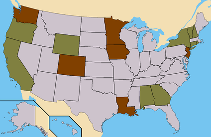 Brown - States where Harris had ballot access. (59 Electoral)Light Brown - States where Harris had Write-In access. (55 Confirmed)Total - 114 Electoral