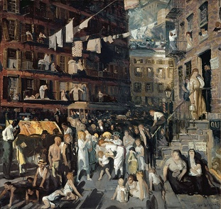 """Cliff Dwellers"" by Bellows, depicting the Lower East Side as it was in the early 20th century"