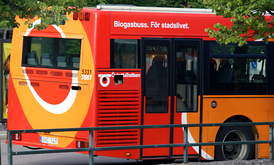 A biogas bus in Linköping, Sweden