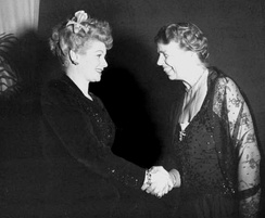 With Lucille Ball during a tour of Washington D.C. hotels presenting fundraisers for the President's Birthday Ball to fight infantile paralysis (1944)